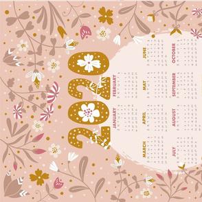 2020 calendar - pink and gold tea towel