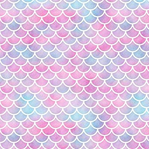 Small Magical Mermaid Scales Pattern on Watercolor