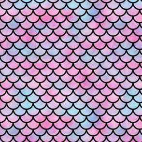 Small Magical Mermaid Scales Pattern in Watercolor on Black