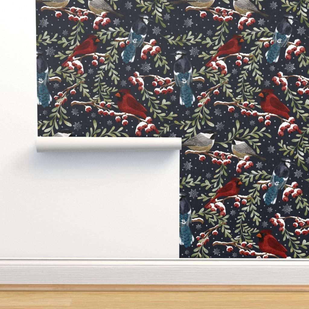 Isobar Durable Wallpaper featuring Winter Birds in Snow -dark by leilaandpostudio
