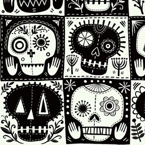 Black and white candy skull