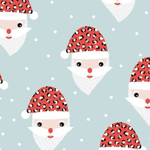 Santa claus and leopard friend animals skin  Christmas panther trend icy blue red hat