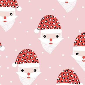Santa claus and leopard friend animals skin  Christmas panther trend pink red hat