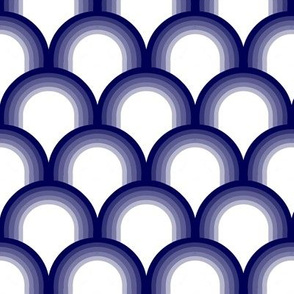 blue and white Chinoiserie style fishscale pattern