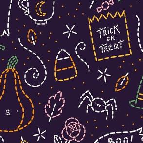 Running stitch Halloween embroidery pattern