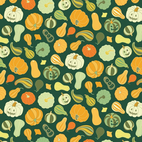 Halloween Pumpkins and Squash in dark green by Pippa Shaw