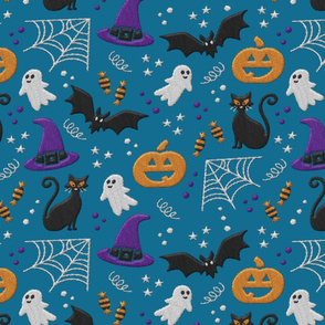 Halloween realistic embroidery print on teal fabric