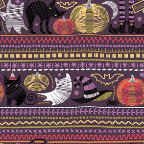 Normal scale // Embroidery Halloween // black cats orange and green pumpkins white ghosts and purple stitches on purple beet background