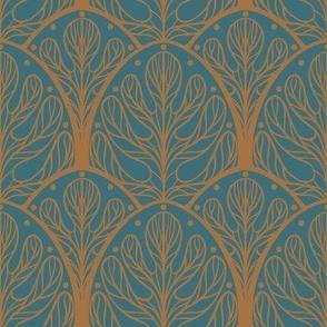 Art Deco Autumn Oak Leaf in Blue and Gold