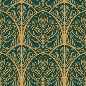 Art Deco Autumn Oak Leaf in Green and Gold