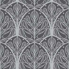 Art Deco Autumn Oak Leaf in Grey