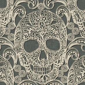 Lace Skulls {Grey} -large