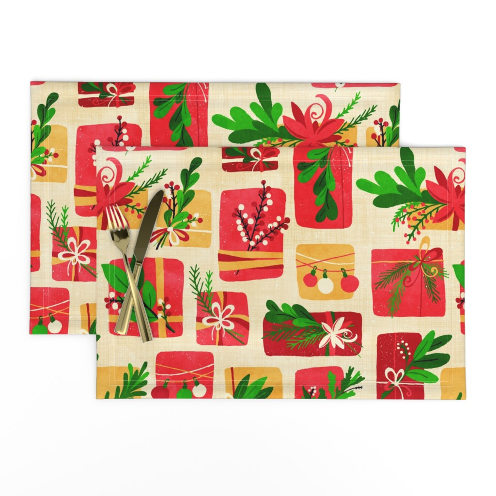 Lamona Cloth Placemats featuring Winter Floral Gift Box Christmas Colours by lidiebug