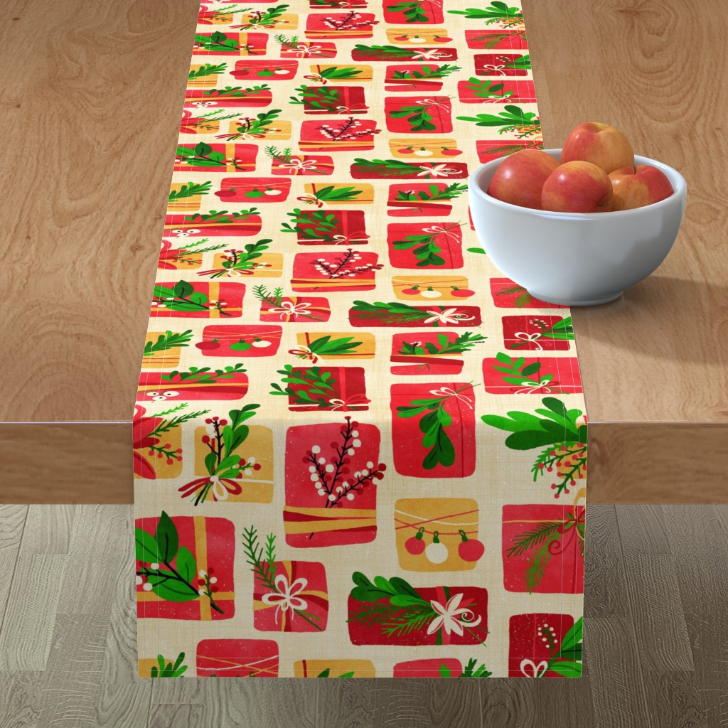 Minorca Table Runner featuring Winter Floral Gift Box Christmas Colours by lidiebug