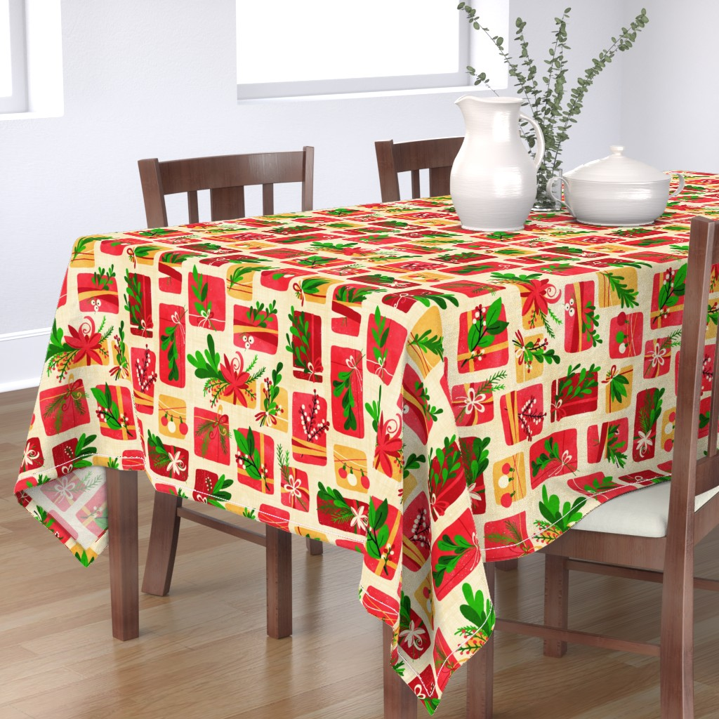 Bantam Rectangular Tablecloth featuring Winter Floral Gift Box Christmas Colours by lidiebug