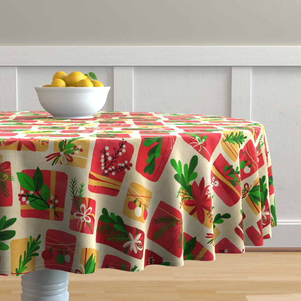 Malay Round Tablecloth featuring Winter Floral Gift Box Christmas Colours by lidiebug