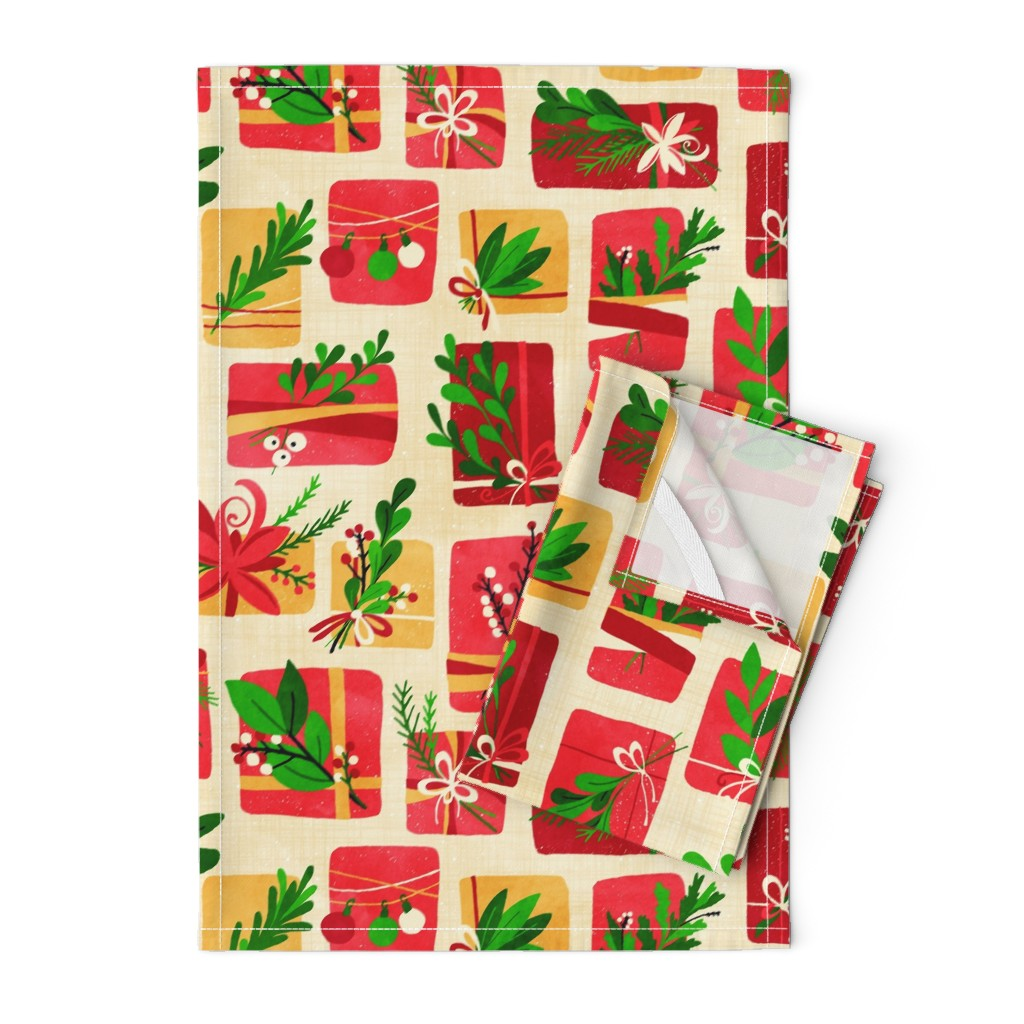 Orpington Tea Towels featuring Winter Floral Gift Box Christmas Colours by lidiebug