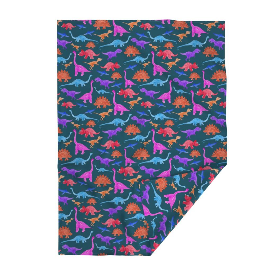 Lakenvelder Throw Blanket featuring Rainbow Dinos Dark Ground (Larger Scale) by fancy_alice