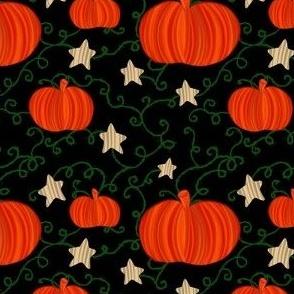 Pumpkins & Stars on Black