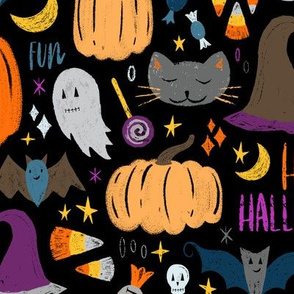 Sketchy Embroidery Halloween Pumpkins, Ghosts, Cats, and Candy! // Scary Halloween Fun Textured Design