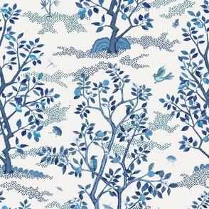Small Blue Citrus Grove Toile