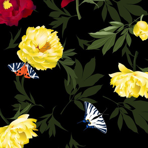 peonies & butterflies dark - large scale