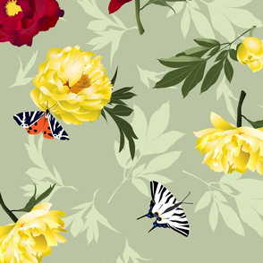 peonies & butterflies on light green - large scale