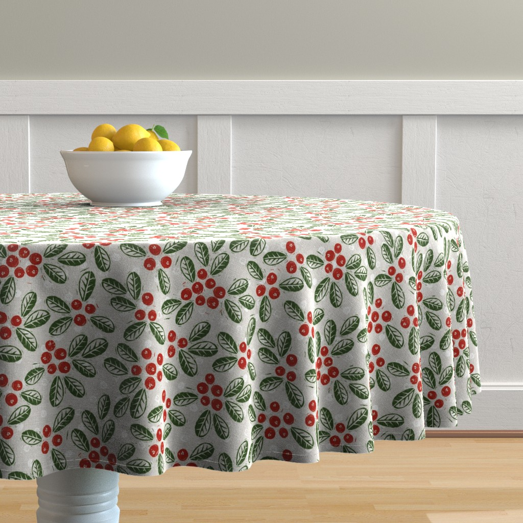 Malay Round Tablecloth featuring lingonberries by fleabat