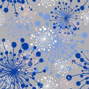 Dandelion winter blush pink grey royal iris blue LARGE