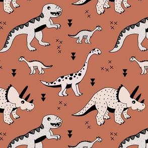 Cool Scandinavian kids dino friends dinosaur pattern rusty autumn copper brown