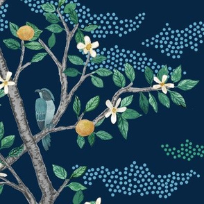 Multi Citrus Grove Toile Navy