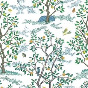 Smaller Multi Citrus Grove Toile White