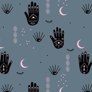 Trust the universe moon stars and spiritual yoga hamsa dreams gray black pink gold