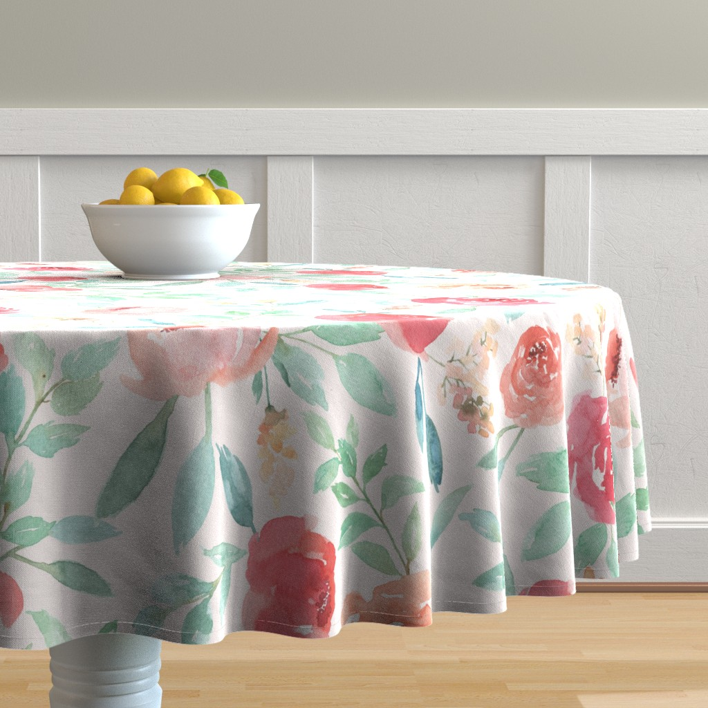 Malay Round Tablecloth featuring Medium Watercolor Floral on Pink by taylor_bates_creative