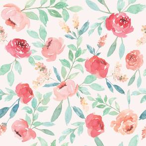 Medium Watercolor Floral on Pink