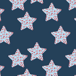 Leopard print stars american flag national holiday theme navy blue red white