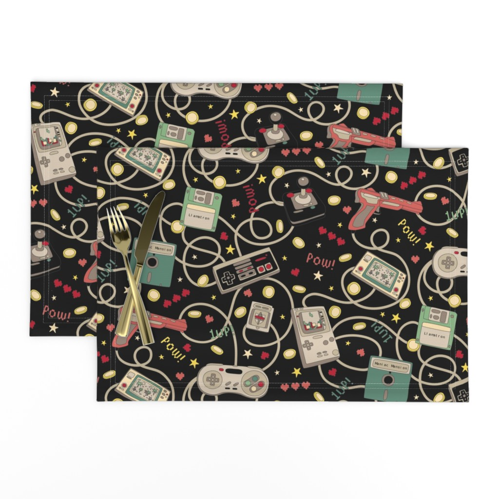 Lamona Cloth Placemats featuring Favourite Game Retro-Colourway Black by teja_jamilla