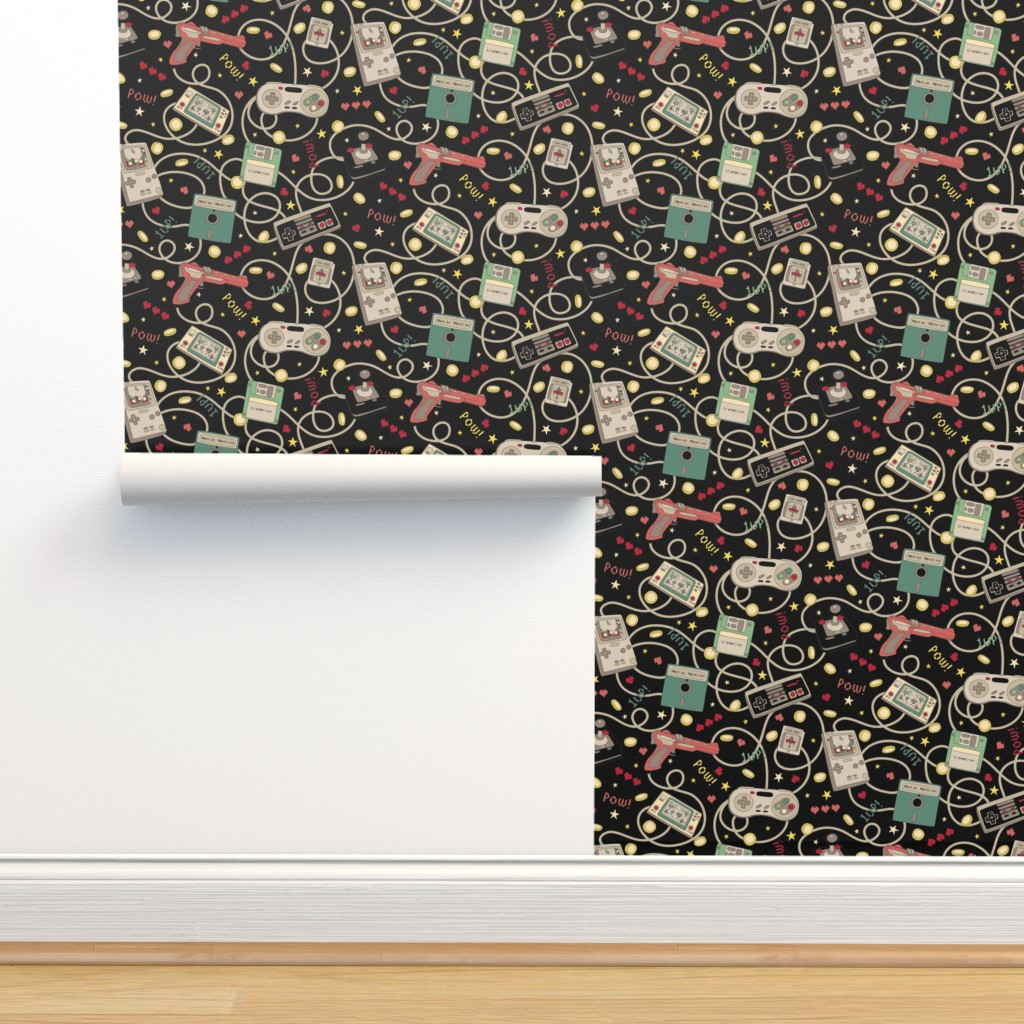 Isobar Durable Wallpaper featuring Favourite Game Retro-Colourway Black by teja_jamilla