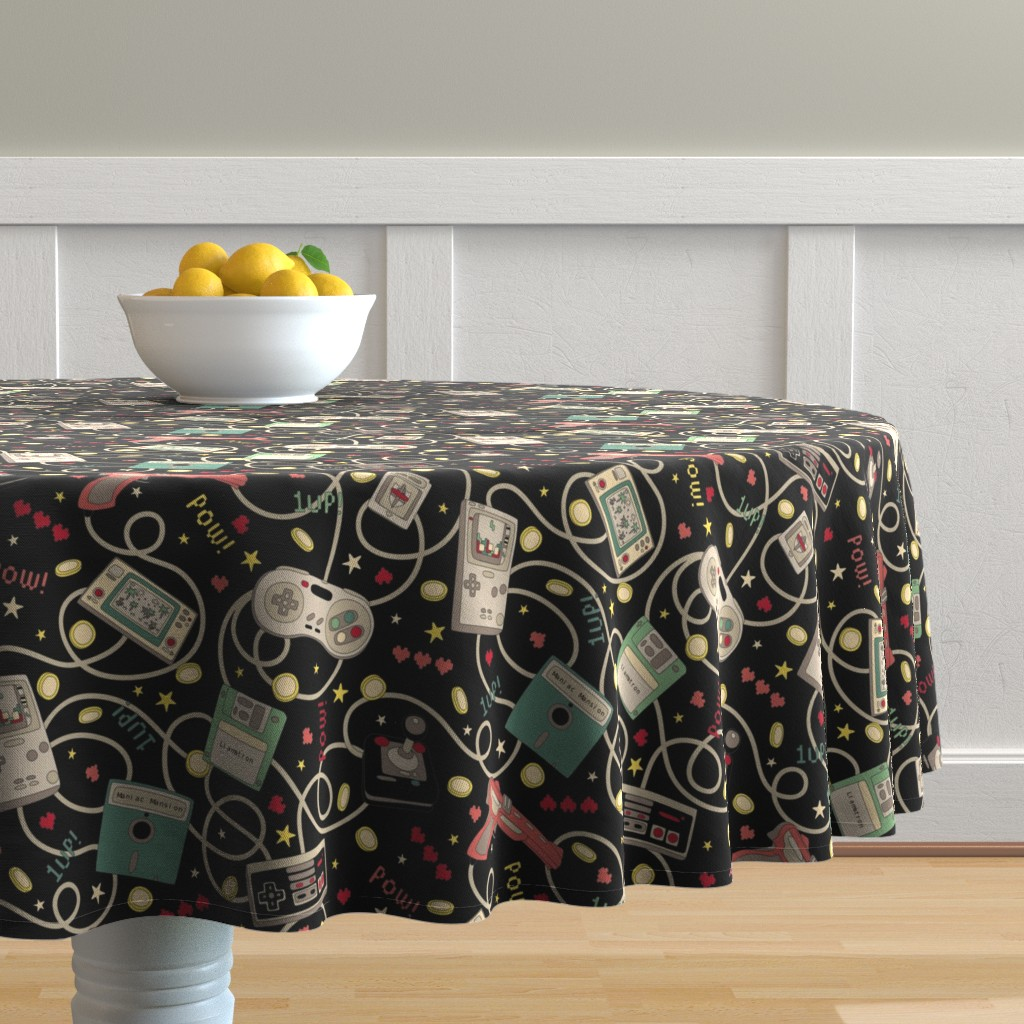 Malay Round Tablecloth featuring Favourite Game Retro-Colourway Black by teja_jamilla