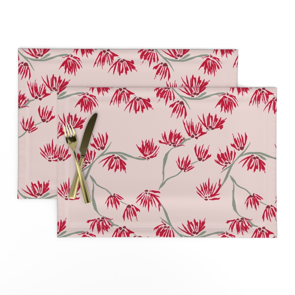 Lamona Cloth Placemats featuring batik witch hazel on pink by omnivora