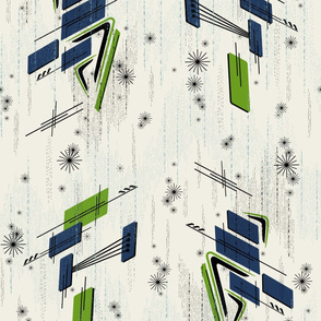 Atomic Boomerangs: 60s Grass Green & Navy MCM Geometric