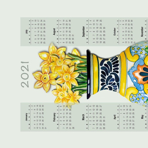 Talavera Tea Towel with Daffodils 2020 Calendar 18x27