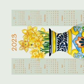 Talavera Vase with Daffodils  Tea Towel 2021 Calendar 18x27