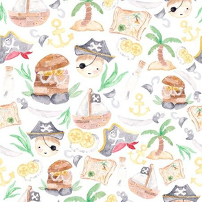 Watercolor Pirate Fabric