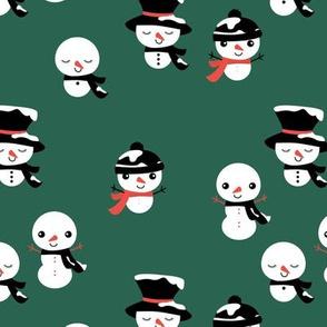 Little snowmen snow angels seasonal Christmas pattern forest green red