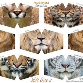 Wild Cats faces - 6 cut out masks Lions, tigers, leopard, cougar