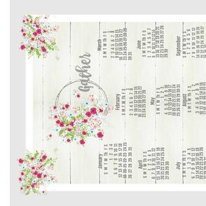 2020 tea towel calendar-GATHER farmhouse shabby bouquet