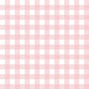 pink linen checker - 1 inch