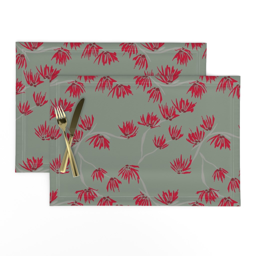 Lamona Cloth Placemats featuring batik witch hazel on sage green by omnivora