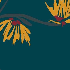 large scale batik witch hazel yellow flowers on dark teal
